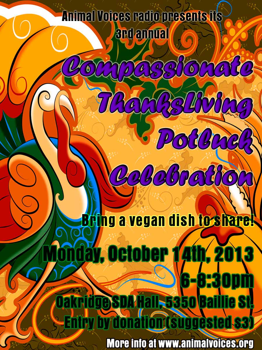 Animal Voices' 3rd Annual Compassionate ThanksLiving Potluck Celebration